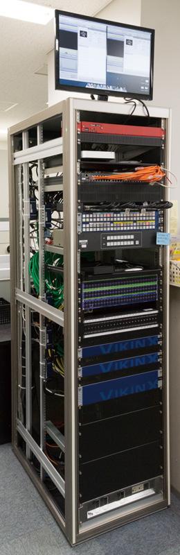 総ての映像、コントロール回線がここに集結。VikinX プログラ マブルルーターにより 1 ボタンで一括切り替え。